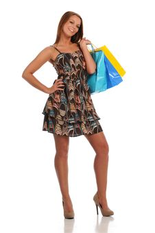 Free Young Beautiful Woman With Shopping Bags Royalty Free Stock Image - 22414046