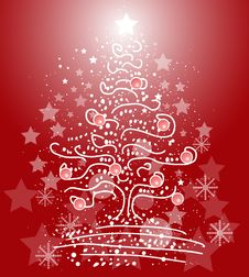 Free Xmas Tree On Red Background Stock Photo - 22414400