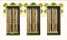 Free Three Windows With Grills. Royalty Free Stock Photo - 22415525