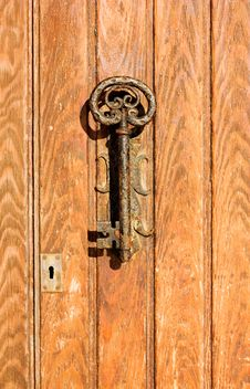 Free The Old Door Handle In The Form Of Key Stock Images - 22415614