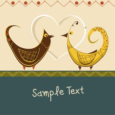 Free Romantic Card With Birds In Love Royalty Free Stock Photos - 22416858