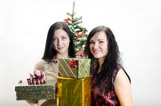 Free Christmas: Two Girls With Gifts Royalty Free Stock Photos - 22418298