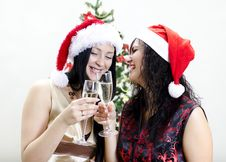 Free Two Girls In Red Hat Have Fun Stock Photography - 22418342