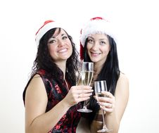 Free Two Girls In Red Hats Have Fun Stock Photo - 22418360