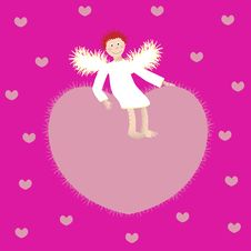 Free Angel And The Heart On A Pink Background Stock Photography - 22418372