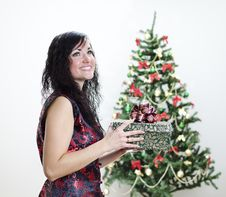Free Christmas: Brunette Girl With Gift Stock Images - 22418454