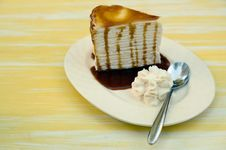 Free Side Of Cream Cake Topped With Caramel Stock Image - 22420571