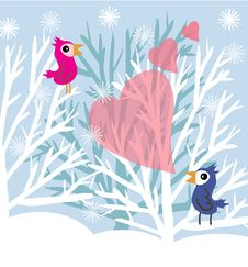 Free Love Birds At Winter Tree Stock Image - 22428241
