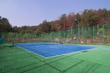 Free Empty Tennis Courts, Wideangle From Center Stock Photography - 22428992