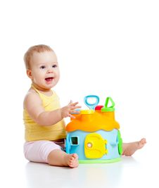 Free Pretty Baby With Color Educational Toy Stock Photography - 22429172