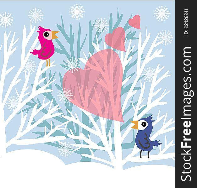 Love birds at winter tree