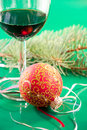 Free Glasses Of Wine And Christmas Balls Stock Photography - 22436322