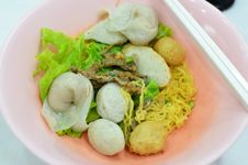 Asian Style Noodle With Pork And Fish Ball Royalty Free Stock Photo