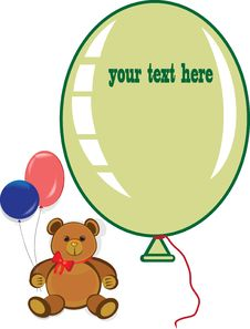 Free Holiday Birthday Card With Teddy Bear Royalty Free Stock Photography - 22432307