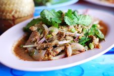 Spicy Salad Of Grilled Pork Stock Images