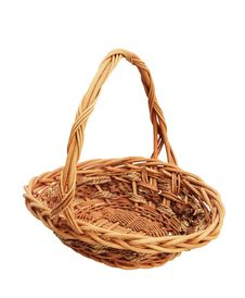 Free Wicker Basket Isolated On White Background Royalty Free Stock Photography - 22436147