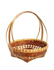 Free Bamboo Weave Basket Isolated On White Background Royalty Free Stock Photo - 22436155