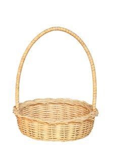 Bamboo Weave Basket Isolated On White Background Stock Image