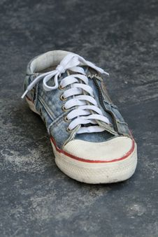 Old Jean Sneaker Stock Photography