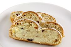 Free Butter On A  Slice Of Christmas Stollen Cake Royalty Free Stock Images - 22439779