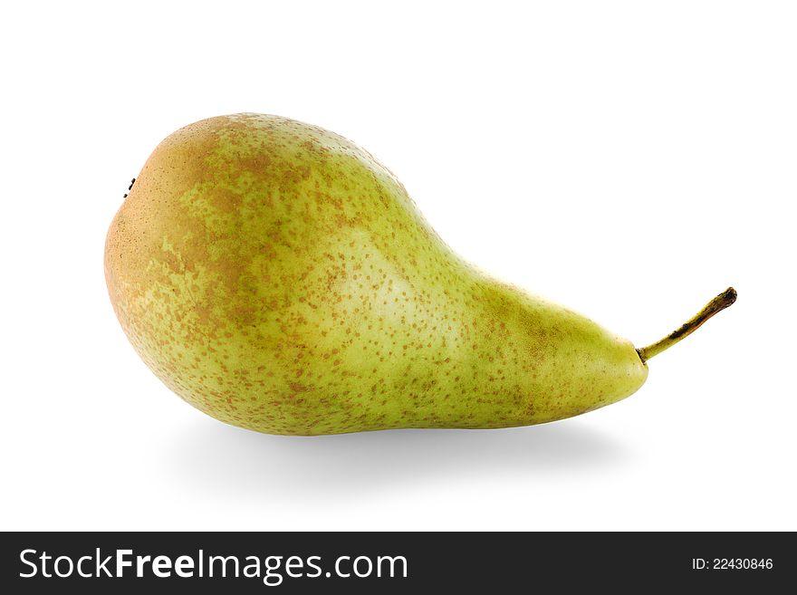 One ripe green pear