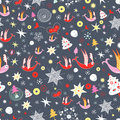 Free Winter Pattern With Trees And Birds Royalty Free Stock Images - 22445129