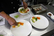 Restaurant Chef Preparing A Plate Stock Photos