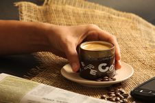 Free Hot Cup Of Coffee Stock Image - 22444591
