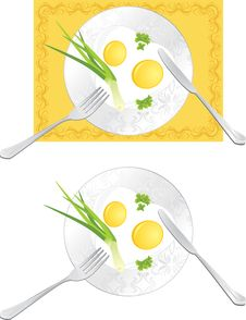 Free Fried Eggs With Green Onion And Parsley Stock Photo - 22444920