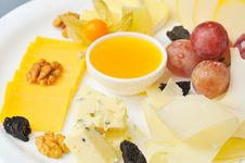 Cheese Plate With Honey Royalty Free Stock Photos