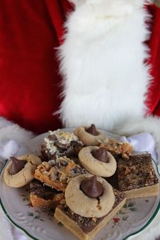 Santa Holding Plate Of Cookies Royalty Free Stock Photo