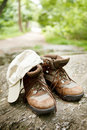 Free Hiking Boots And Hat In The Woods Stock Photos - 22450603