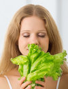 Free Young Beautiful  Woman With Green Lettuce Stock Images - 22451104
