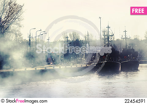 Free Group Of Millitary Ships On Harbour Stock Image - 22454591
