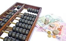 Free Abacus And Thailand S Money On White Background Royalty Free Stock Photos - 22450368