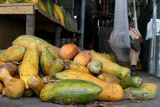 Papayas In Market Stock Photo