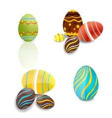 Swirl And Shiny Easter Eggs Set Stock Photography