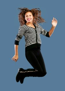 Free Young Beautiful Happy Woman Jumping Royalty Free Stock Photography - 22455707