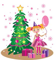 Free Little Girl Near Christmas Tree Stock Photos - 22456423