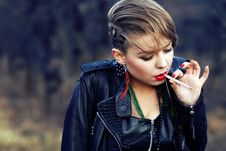 Hipster With Leopard Haircut Smoking Cigarette Royalty Free Stock Photo