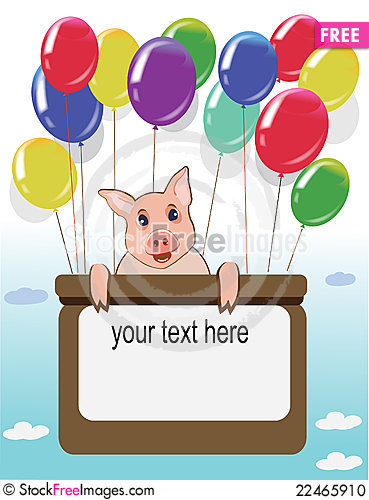 Happy birthday card with funny pig and balloons free stock images happy birthday card with funny pig and balloons bookmarktalkfo Image collections