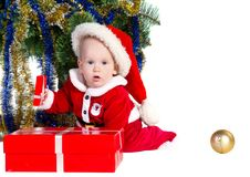 Free Little Baby Boy Wearing Santa S Costume Royalty Free Stock Image - 22460436