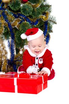 Free Little Baby Boy Wearing Santa S Costume Royalty Free Stock Photo - 22460455