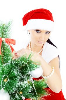 Free Beautiful Woman Near A Christmas Tree Royalty Free Stock Photo - 22461735