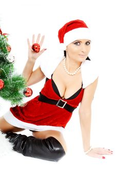 Free Beautiful Woman Near A Christmas Tree Royalty Free Stock Photo - 22461745