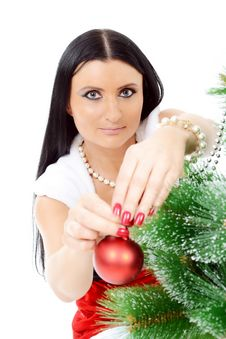 Free Beautiful Woman Near A Christmas Tree Royalty Free Stock Images - 22461769