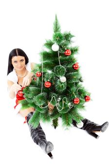 Free Beautiful Woman Near A Christmas Tree Stock Photography - 22461782