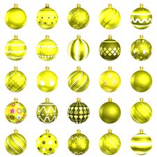 Free Christmas Baubles Yellow Pack On White Background Stock Image - 22463541