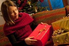 Free Girl Studying Christmas Gift Stock Photos - 22465073