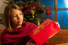 Free Surprised Girl  Studying Christmas Gift Stock Photography - 22465092